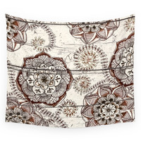 Society6 Coffee Cocoa Brown Cream Floral Doodles Wall Tapestry
