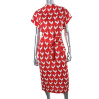 A.W.A.K.E Womens Jacquard Rooster Print Wear to Work Dress