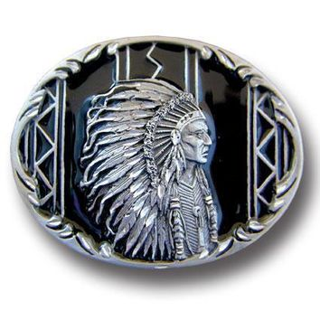 Sports Accessories - Indian Chief (Diamond Cut) Enameled Belt Buckle