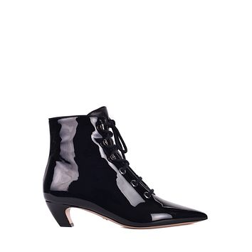 Dior Womens Black Patent Pony-style Calfskin Ankle Boots