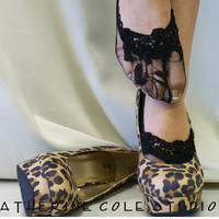 Lace socks for heels w/ lace trim Lace Flirty Footlet socks  flats, pumps will love this girly style lingerie Catherine Cole