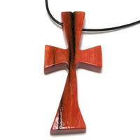 Wooden Cross Pendant - Medium Cross Necklace - African Pink Ivory Wood - Gifts for Him - Men's Cross Necklace