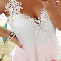 'The Leea' Lace Strap Chiffon Tank Top