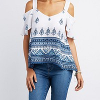Printed Ruffle Cold Shoulder Top
