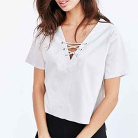 Glamorous Faux Suede Lace-Up Top