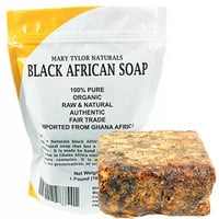 Organic African Black Soap 1 Lb (16 Oz) Raw Natural African Black Soap Handmade From Ghana Africa. Pure Authentic 100% Natural Organic for Acne, Scar Removal And Stretch Marks By Mary Tylor Naturals