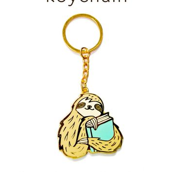 Bookish Sloth Keychain -- Gold Book Sloth Key Chain