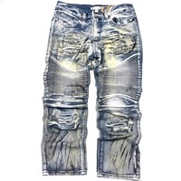 Denim & Rivets Limited Men's Distressed Black Paint Splatter Biker Jeans