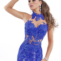 Beautiful lace dress shown in royal