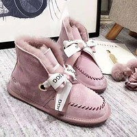 UGG high quality new fashion ribbon bow keep warm snow boots shoes women Pink