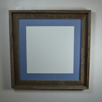 16 x 16 wood picture frame for pictures or prints with 12x12 light blue mat
