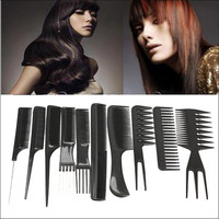 10pcs Professional Hair Combs Kits Salon Barber Comb Brushes Anti-static Hairbrush Hair Care Styling Tools Set