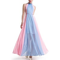 Halter Chiffon Sleeveless Multicolor Summer Bohemian Dress