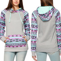 2015 NEW Arrival  Fall Winter Slim Was Thin Long-sleeve Geometric Print Pocket Hooded Sweaters Bottoming Sweater