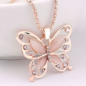 2017 New Fashion Rose Gold Color Butterfly Chokers Necklaces Cat Eye Stone Long Pendant Necklace Women Jewelry 1 Pcs