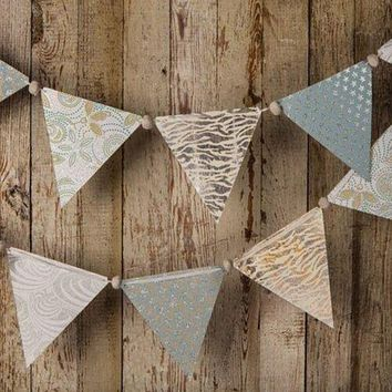 BLOWOUT Silver Paper Large Triangle Pennant Banner (9.5 Feet Long)