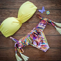 Sexy Floral Printed Yellow Swimwear Bikini Set a11214