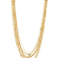 Gold Mixed Chain & Rhinestone Layered Necklace by Charlotte Russe