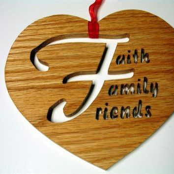Handcrafted Oak Faith Family Friends Heart Wall Hanging