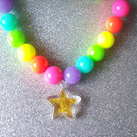 Crazy Neon Stretch Necklace with Gold Glitter Star