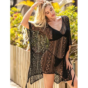 New holiday style knit loose-fitting strappy fringed bikini swimsuit beach blouse black