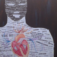 Image of a Person made from a Collage of Anatomy terms with a Color Pencil drawn Heart