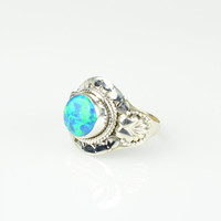 Opal Ring Sze 5.5  Sterling Boho rings Cabochon Ring Gypsy ring Dainty Ring  Stackable Rings Tibetan Ring Opal Stone 925 Ring Mermaid Ring