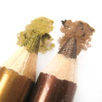 Gold and Bronze - Double Color Glitter Shimmer Eye Shadow Duo Pencil from nailartsupplies