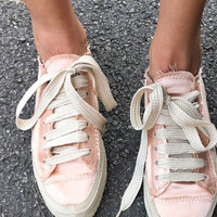 Pink Parson Suede-Trimmed Satin Sneakers