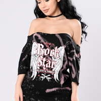 So You Want To Be A Rock Star Tee - Black/Mauve