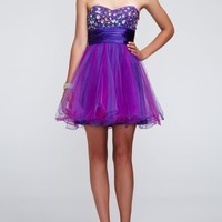 Strapless Short Tulle Dress with Beaded Bodice - David's Bridal- mobile