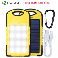New 8000 mAh Solar Power Bank Portable Travel Outdoor Phone Charger USB External Battery For Iphone Samsung With LED Light+Cable