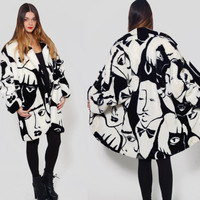Vintage 80s Faux Fur Coat DONNYBROOK Black & White Oversized ART DECO Winter Coat Cocoon Coat Faces Coat