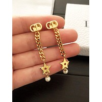 Dior Fashion Women Stylish Star Pearl Pendant Earrings Accessories Jewelry