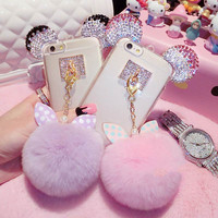 Luxury Crystal Mickey Head Bowknot Fur Ball Soft TPU Phone Back Cover Phone Case For Iphone SE 5 5S 6 6S 6Plus 6S Plus
