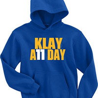 """Klay Thompson Golden State Warriors """"Klay All Day"""" Hooded Sweatshirt ADULT SMALL"""