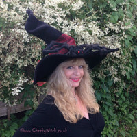 Tall Twisty Dramatic Cheeky Witch Hat with a Huge Spider Halloween Samhain Wicca