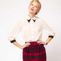 Button Up Chiffon Blouse Double-Layer Collar