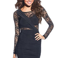 Sexy Black Long Sleeve Lace Ruched Bodycon Dress