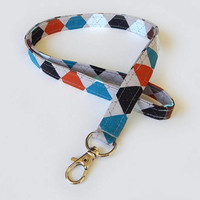 Argyle Lanyard / Men's Lanyard / Neutral Keychain / Diamond Pattern / Key Lanyard / ID Badge Holder / ID Lanyards for Guys