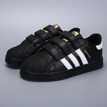 Adidas Original Superstar Black White Velcro Toddler Kid Shoes