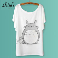 Totoro Print Women T Shirts Fashion Cartoon Animal Panda Lion Cat Printed Batwing Sleeve T-Shirt Tops