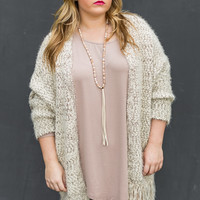 Frosty Morning Marled Plus Size Cardigan in Brown