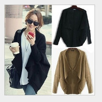 women loosed brown black knitted sweater = 1697629700