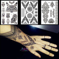 Lace Black Henna Temporary Tattoo Sticker Owl Mandala Waterproof Fake Tattoo Body Art Women 20x15CM Mehndi Bracelet Tatoo Paste