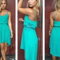 Teal Sleeveless Hi-Low Dress with Crochet Side Detail
