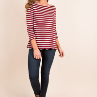 Country Club Chic Top, Burgundy