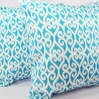 Indoor Outdoor Pillows - Teal Throw Pillow Covers in Teal Scroll Print - 16 x 16 inches Decorative Throw Pillow Couch Pillow Cushion Cover