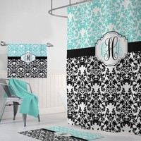 Damask SHOWER CURTAIN, Aqua Black Master Bathroom Decor, Girl Dorm MONOGRAM Personalized Shower Curtain, Damask Bath Towel or Plush Bath Mat