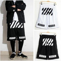 VIP Off white twill printed leisure sports men and women basketball shorts Pyrex hight quality free shipping
